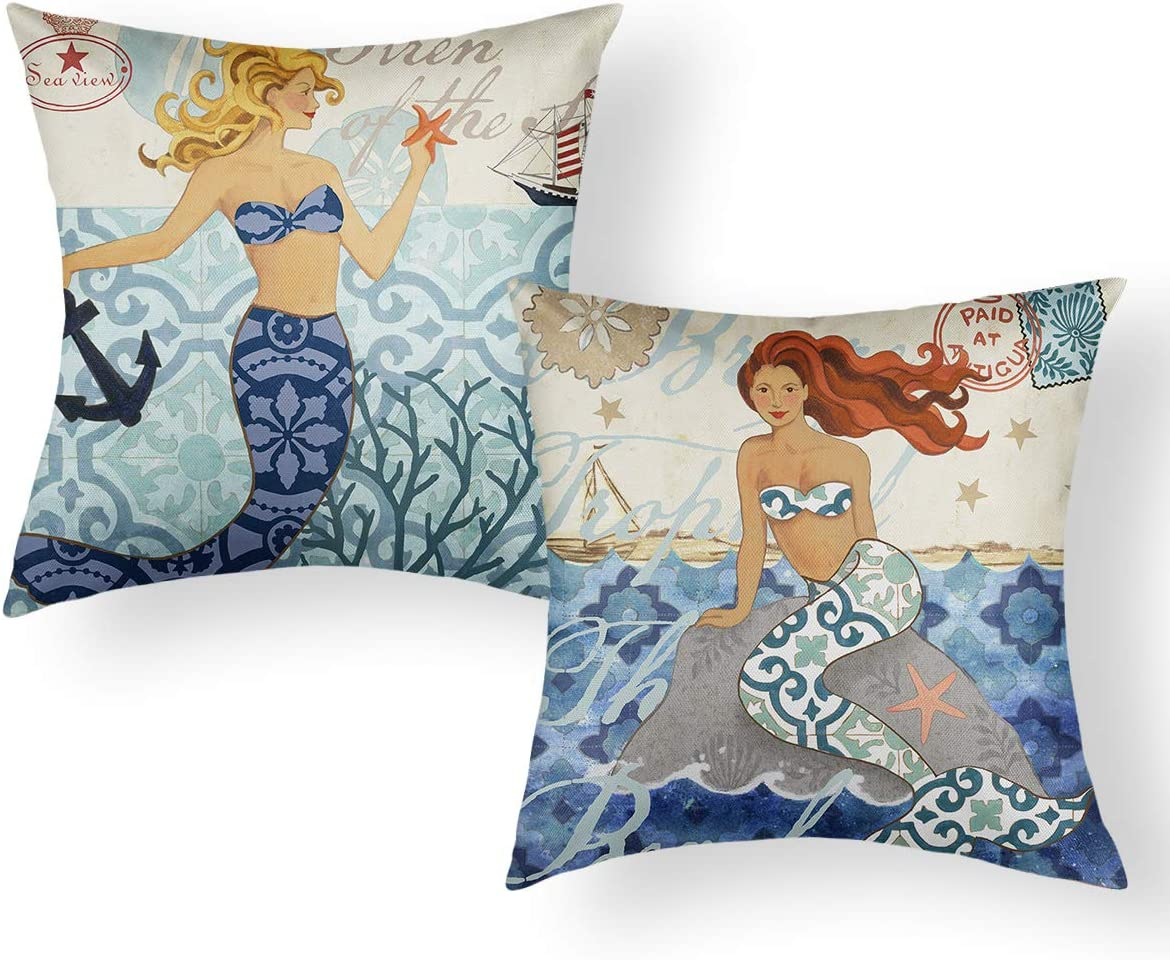 "Jekeno Mermaid Pillow Covers Cartoon Ocean Theme Cotton Linen Cushion Cover for Bed Sofa Car Office Decor 18""x18"" Set of 2"