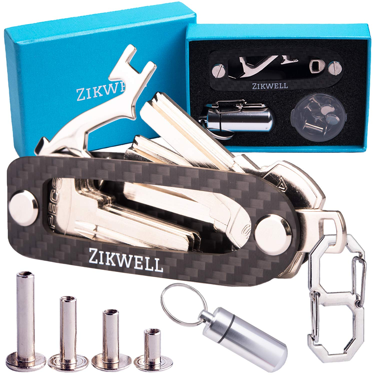 Smart Key Holder Organizer | Compact Keychain in Your Pocket - Made of Carbon Fiber - with Multitool, Bottle Opener, Carabiner. up to 14 Keys - Easy Assembly, Great Gift Box by Zikwell