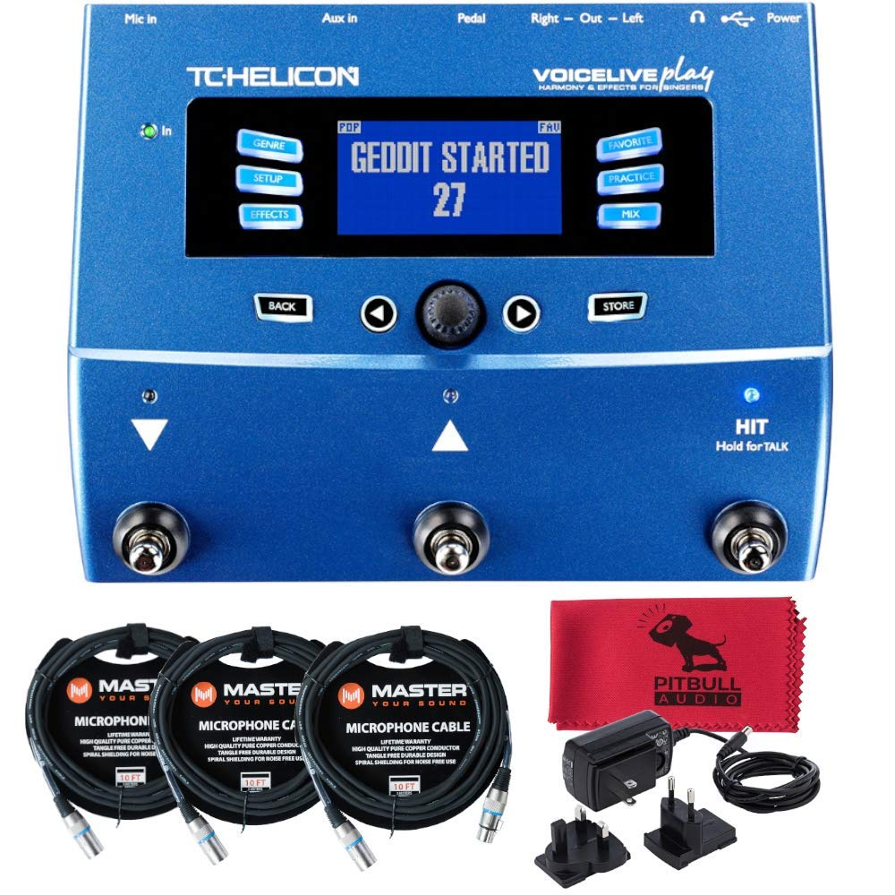 TC Helicon VoiceLive Play Vocal Harmony Reverb Delay Doubler Effects Processor bundled with 3 Master 10ft XLR cables and PitbullAudio Microfiber Cloth.