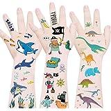 Shark+Pirate+Dinosaur Temporary Tattoos for Kids, Waterproof Body Stickers Ocean Adventure Nautical,Fake T-rex Tattoo Decorat