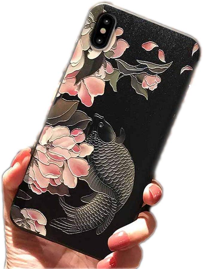 Custodia per iPhone Xs Max, retro con fiore di loto Koi For iphone ...