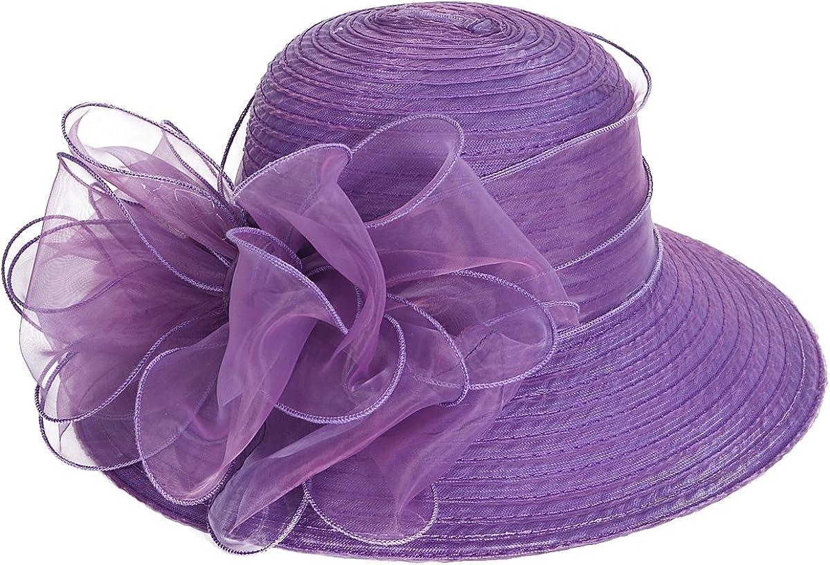 VECRY Femmes Oaks Derby Robe /Église Cloche Capelines Bowler Chapeaux de Mariage