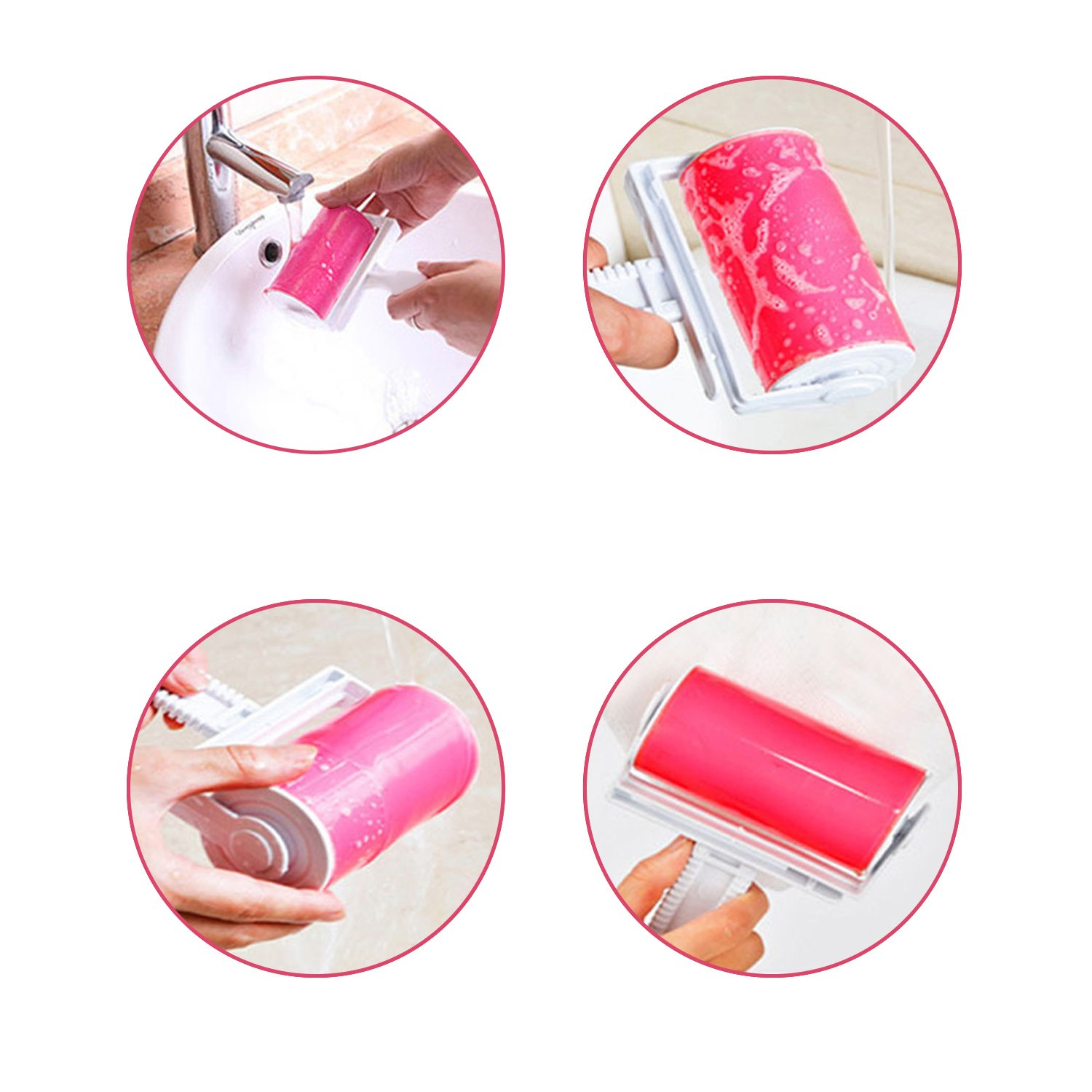 (2Pack)Lint Roller,WOWGO Reusable Pet Hair Remover Sticky Washable Pet Hair Roller with Cover and Travel Size Roller-Pink
