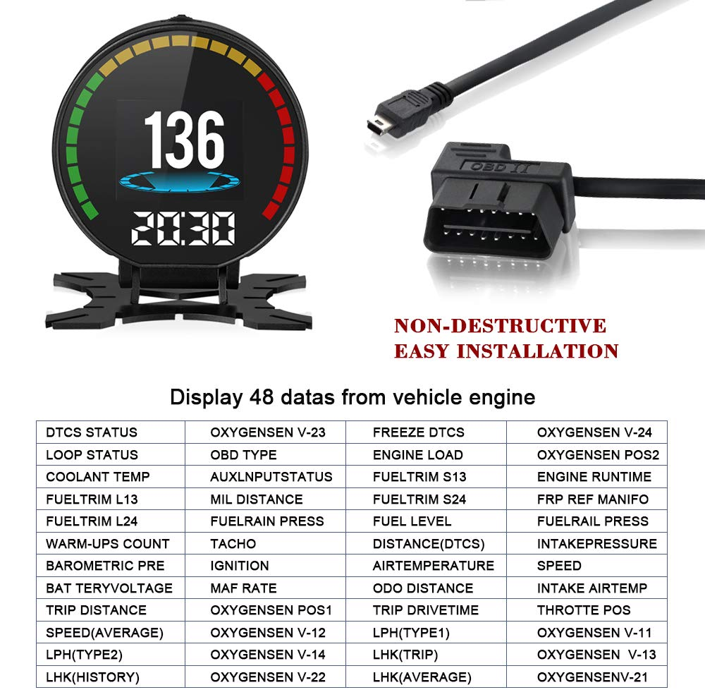 Swoo Car 284 Tft Hud Disaplay Obd2 Mph Kmh Lcd Digital Speedometer Overheating Alarm Tachometer Odometer Scanner Diagnostic Tool Overspeed Turbine