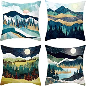 HEYHOUSENNY Cartoon Landscape Mountains Decorative Watercolour Throw Pillow Covers Tree Bright Cushion Covers Green Square Outdoor Pillowcase for Sofa Set of 4 (Forest and River)