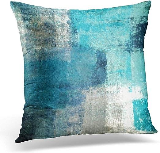 Amazon.com: Emvency Throw Pillow Cover Teal Gray Contemporary
