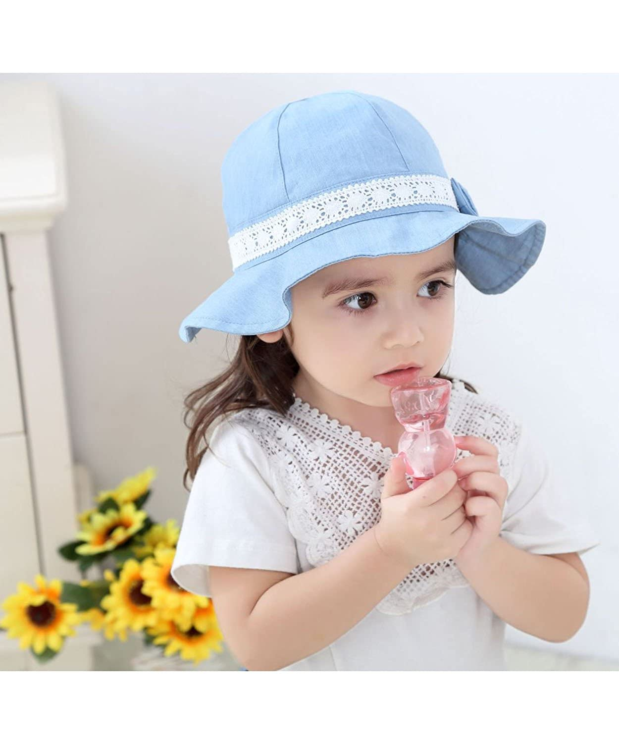 MZLIU Toddler Baby Girl Lovely Lace Cowboy Sun Hat Cotton 3m-6T