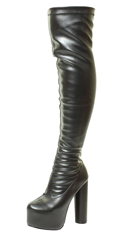 Sexy Noir Au-dessus du genou Plate-forme cachée haut Cuisse Talon haut 19927 Étendue Vaste jambe bottes Noir Faux Cuir 1401749 - therethere.space