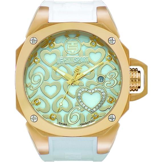 TECHNO Sport Mujer Chrono Reloj - True Love Dorado/Blanco: Amazon.es: Relojes