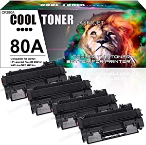 Cool Toner Compatible Toner Cartridge Replacement for HP 80A CF280A 80X CF280X for HP Laserjet Pro 400 M401A M401D M401N M401DN M401DNE M401DW, Laserjet Pro 400 MFP M425DN Laser Ink Printer Black-4PK