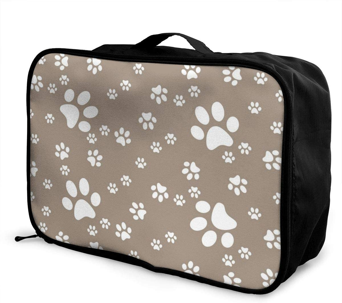 Yunshm Paws Brown Pattern Paw Background Vector Image Customized Trolley Handbag Waterproof Unisex Large Capacity For Business Travel Storage