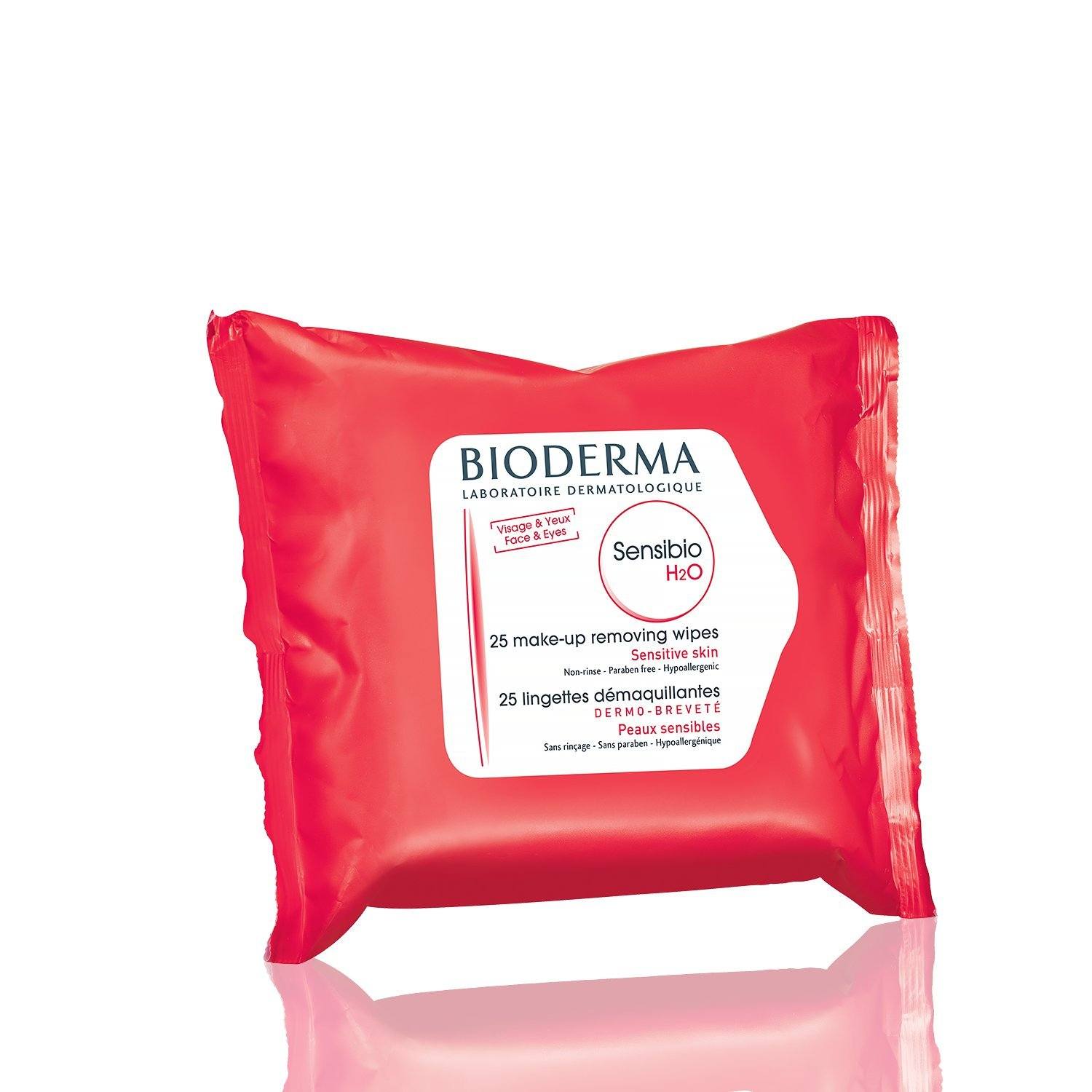Bioderma Sensibio H2O Biodegradable Facial Cleansing and Makeup Remover Wipes for Face and Eyes - 25 count
