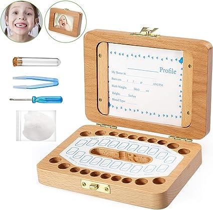 Bo/îte Dents de Lait pour B/éb/é Dents de Lait Rangement Enregistrer Cadeaux Bo/îte en Bois pour Enfants Gar/çon et Fille Cadeau Naissance Bapt/ême Anniversaire pour Enfants