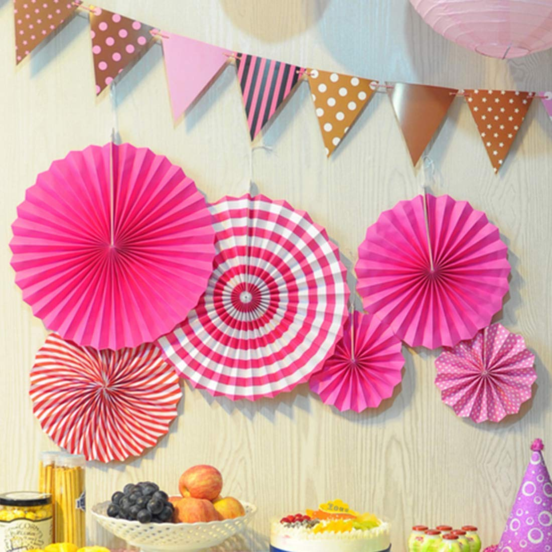 My Party Suppliers Paper Fan for Theme Decoration (Pink) ,Set of 6