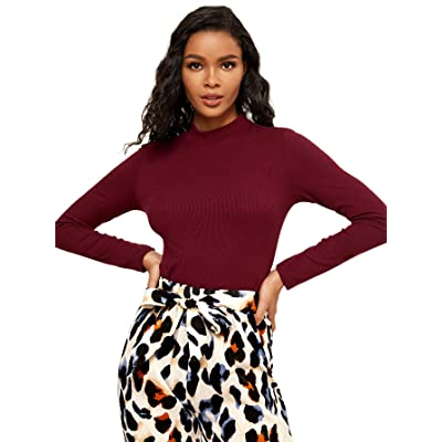 SheIn Women's Mock Neck Half Sleeve Slim Fit Ribbed Knit Tee T-Shirts X-Large Burgundy at Women's Clothing store