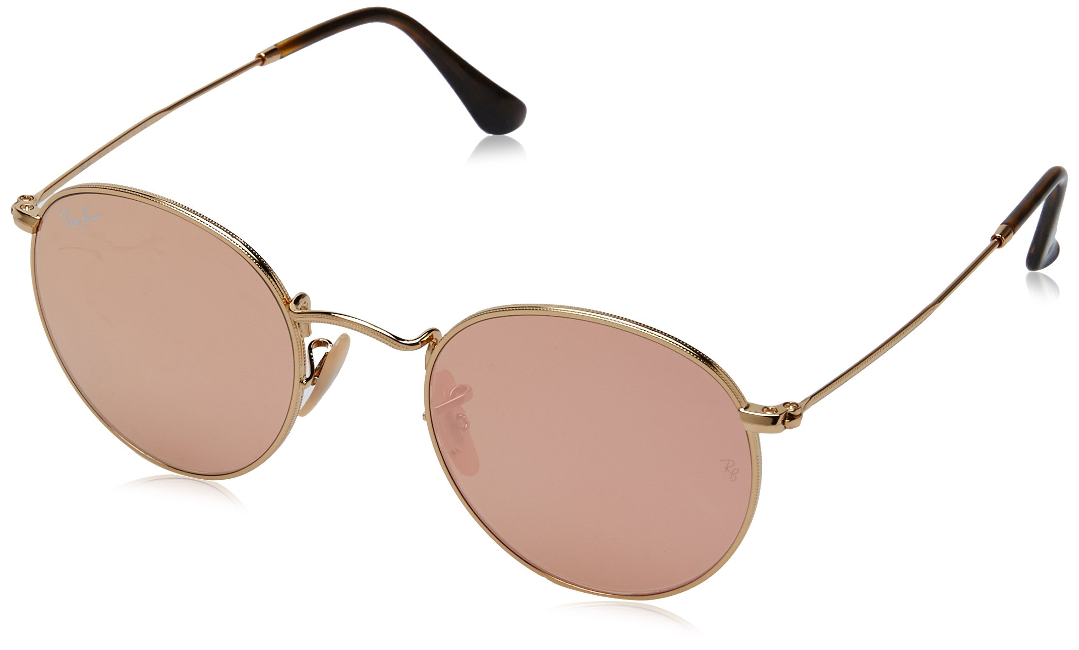 Ray-Ban RB3447N 001/Z2 Non polarized Round Sunglasses, Gold/Copper Flash, 50mm