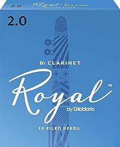 D'Addario Woodwinds Royal Bb Clarinet Reeds, Strength 2.0, 10-pack - RCB1020 (Renewed)