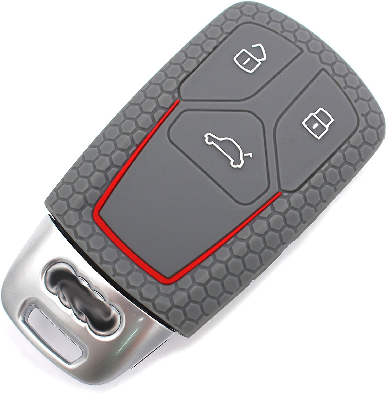 Schl/üssel H/ülle VA f/ür 3 Tasten Auto Schl/üssel Silikon Cover von Finest-Folia Rot
