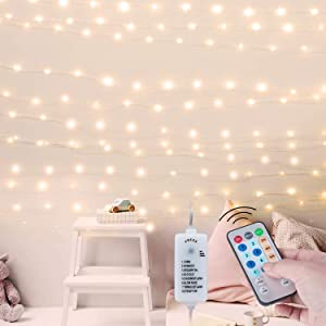 USB Fairy String Lights: 66 Ft 200 LED Twinkle Mini Lights Decor with Remote & Plug & 8 Light Modes & Timer Function for Bedroom Wall Christmas Tree Home Party Wedding | Warm White