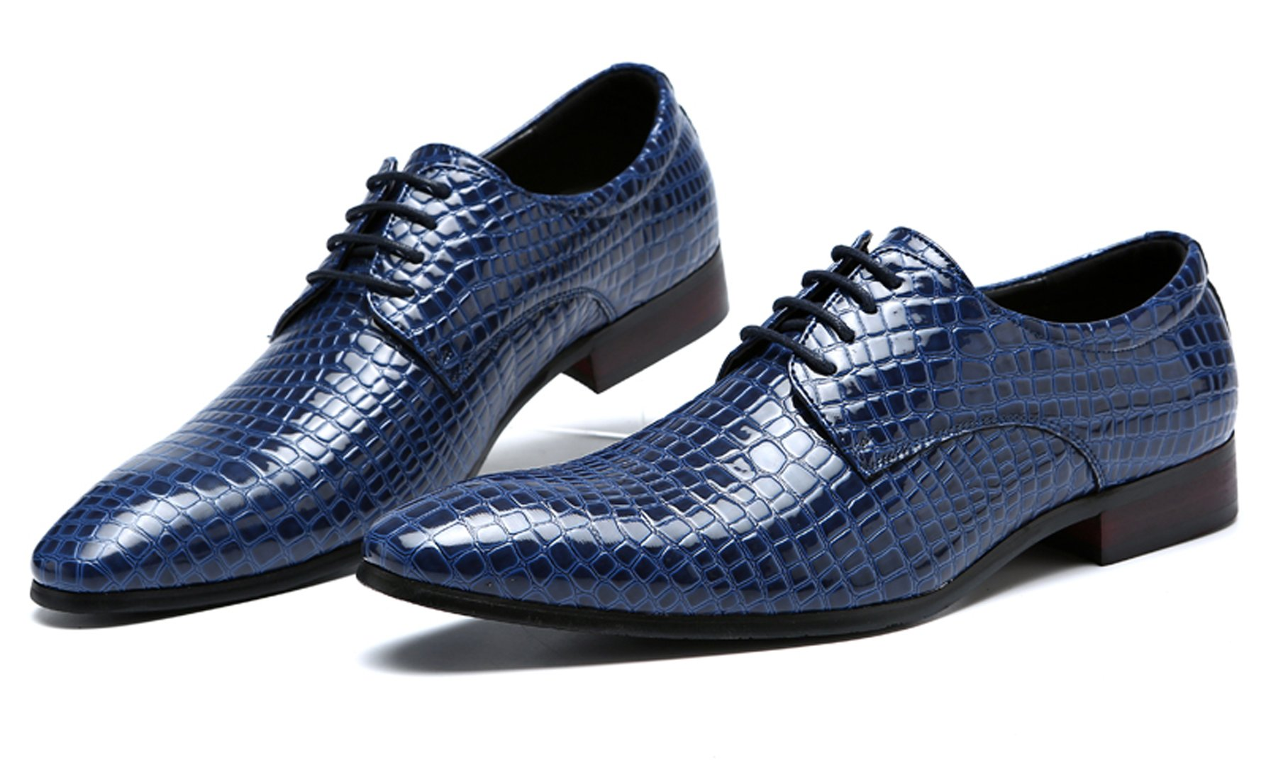 Blue Oxford Dress Shoes Men Pointed Toe Italy Alligator Patent Leather Lace Up Wedding Formal Derby Shoes 7 D(M) US by Santimon (Image #5)