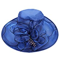 Estate donne organza cappello da sole Protezione UV spiaggia cappelli a tesa  larga velo da sposa a660e20604b3