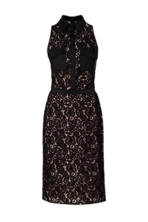 Isabel Garcia Sleeveless Lace Overlay Collared Pencil Dress, BlackNude, UK Size 14