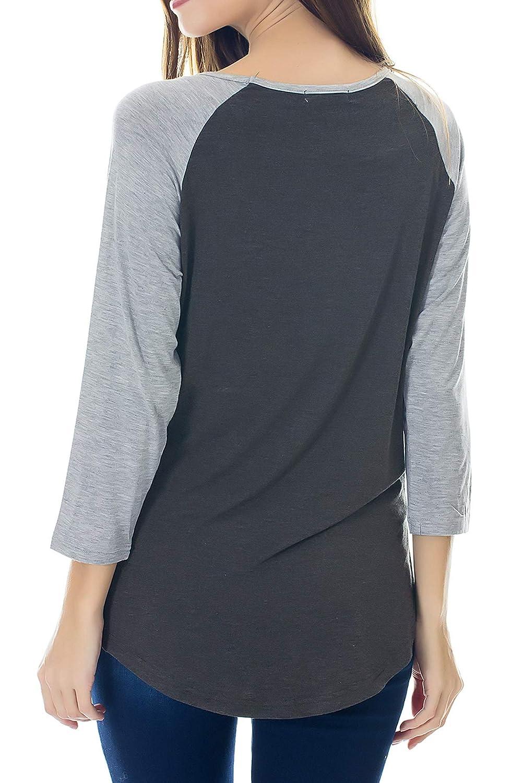Smallshow Damen Stillshirt 3//4 /Ärmel Umstandstop/Stillen Schwangerschaft Kleidung Umstandsmode T-Shirt Stilltop