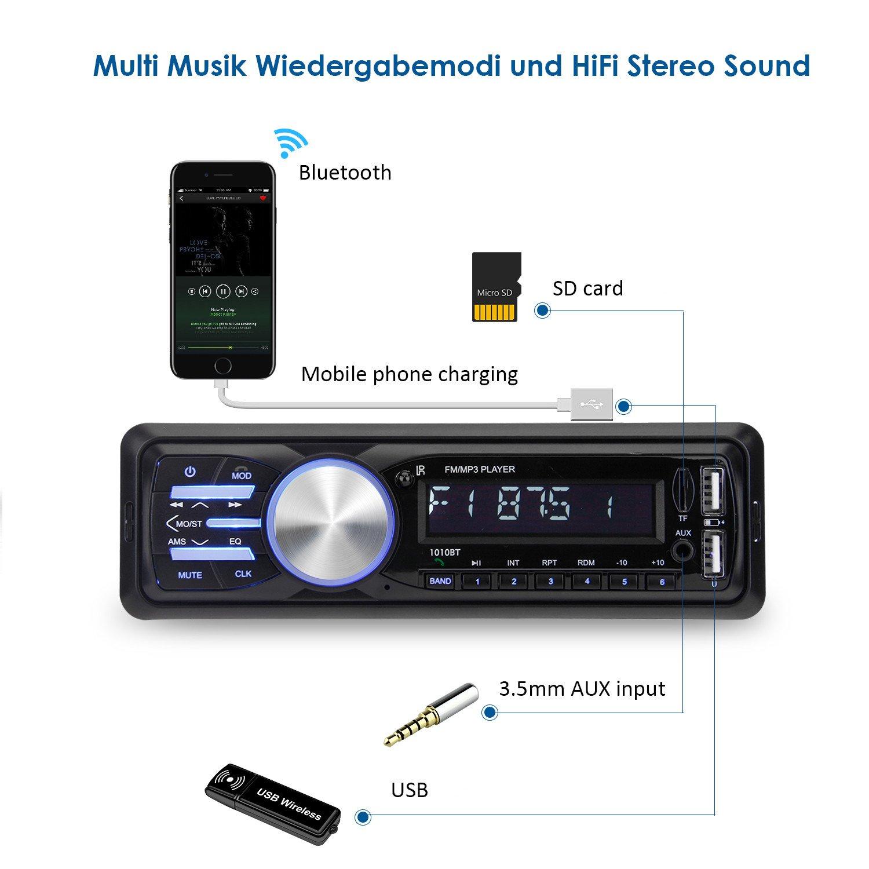 bedee Autoradio KFZ Bluetooth Audio Empfänger MP3 Player mit ...