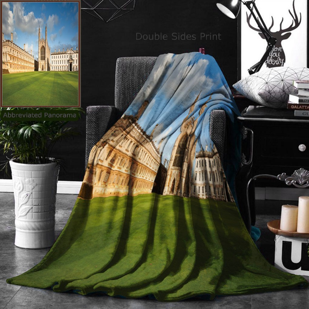 Ralahome Unique Custom Double Sides Print Flannel Blankets Cambridge University And Kings College Chapel Super Soft Blanketry for Bed Couch, Twin Size 60 x 70 Inches