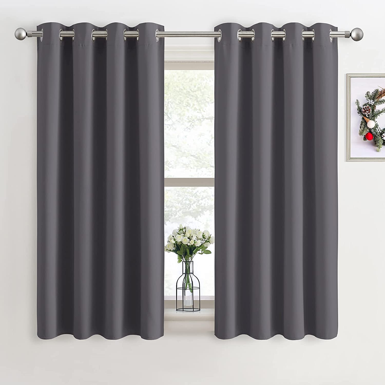 """PONY DANCE Grey Blackout Curtains - Super Soft Curtains for Bedroom Eyelet Curtains 46 x 54-inch Drop Noise Reduce Curtains for Living Room/Home Office, 2 PCs, Grey 2x W46"""" X L54"""" Grey"""