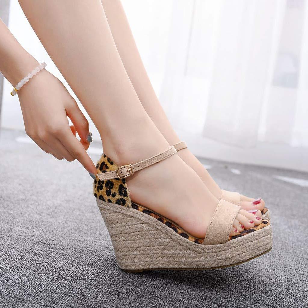 Women's Peep-Toe Sandals,Summer Plus Size Sandals Bohemia Thick Bottom Sandals Beige
