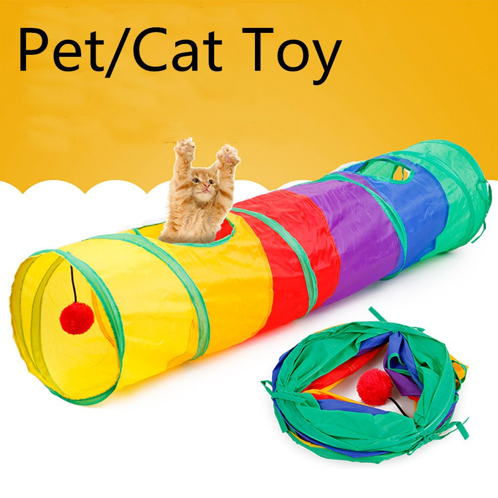 Smdoxi Cat Toys Collapsible Tunnel for Rabbits, Kittens, Ferrets and Dogs Crinkle Tunnel Hideout, Rainbow Tunnel and Playmat Cat Toys (Multicolor)