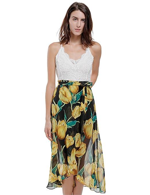 515f95328859 6 opinioni per Blooming Jelly Asimmetrico Vestito Floreale Allacciato Al  Collo A V Profondo