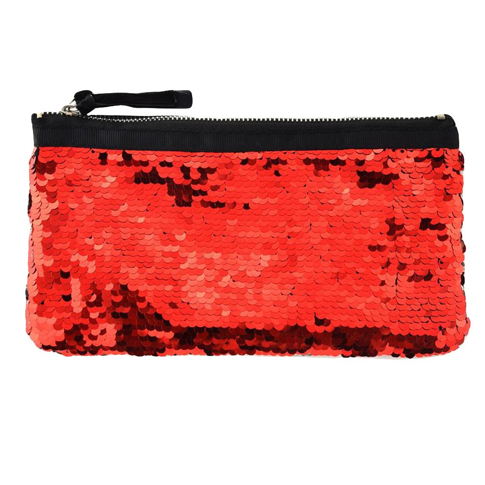 Clearance! Women Make-up Bag Double Color Sequins Coin Cards Holder Purse Wallet Pencil Pouch (O)