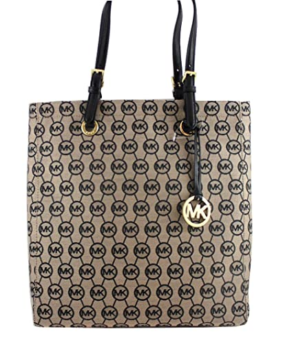 07f27365c468 Amazon.com: Michael Kors Signature Jacquard North South Tote in Beige &  Black with Gold Hardware: Shoes