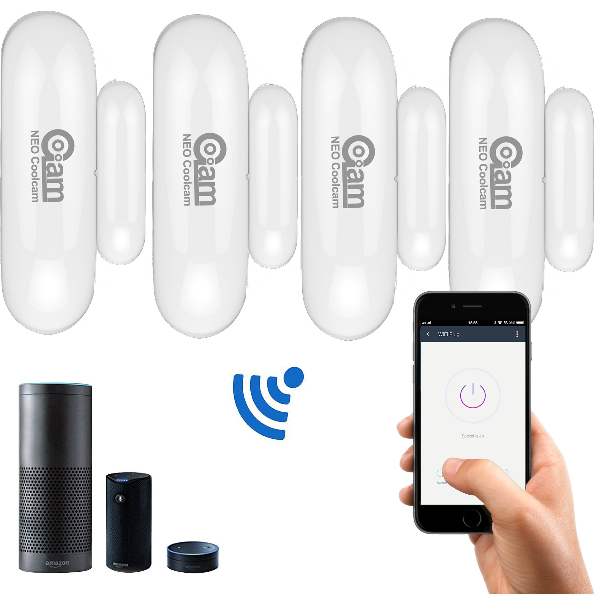 Coolcam WiFi Door Window Sensor Discreet and Compact Size Compatible with Alexa and Google Home