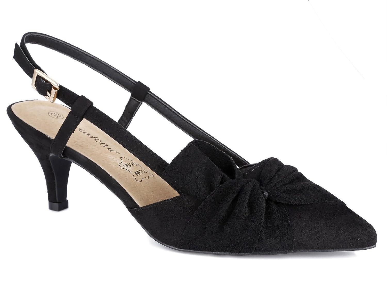 Greatonu Damen Sandalen Schleife Kitten Absatz Slingback Pointed Toe Schwarz