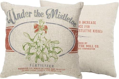 Primitives by Kathy Vintage Feed Sack Style Under The Mistletoe Throw Pillow