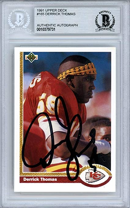 d9f6af8ad87 Derrick Thomas Autographed 1991 Card  165 Kansas City Chiefs Beckett BAS   10379731 - Upper