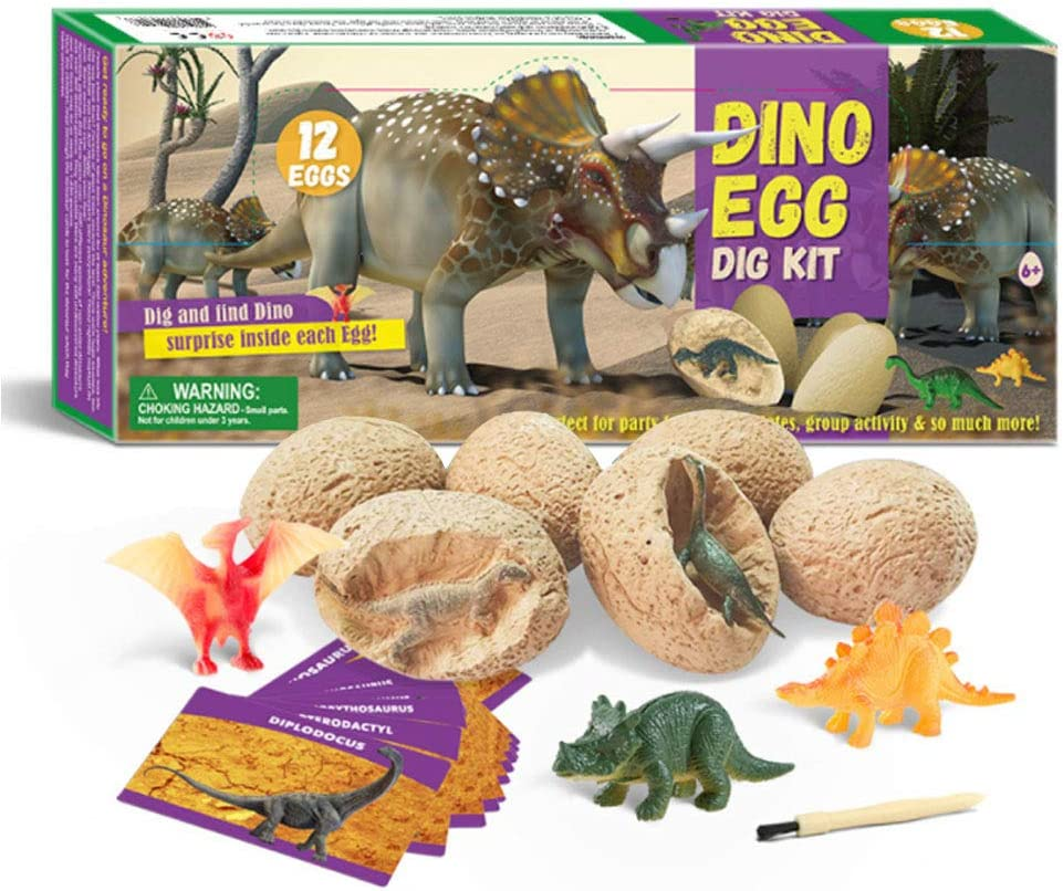 Suitable for Gifts and Toys for Boys and Girls Over 3 4 5 6 7 Years Old Easter Archeology Science Educational Toy Dinosaur Egg Digging Kit 12 Different Dinosaur Fossil Dinosaur Eggs