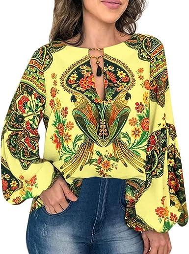 Luckycat Camisetas Mujer Verano Tallas Grandes Blusa Mujer Elegante Camisetas Manga Linterna Boho Blusa Bordado T-Shirt Tops Mujeres Camisa Elegante Blusa Mangas Largas Camiseta Polsillo Escote: Amazon.es: Ropa y accesorios