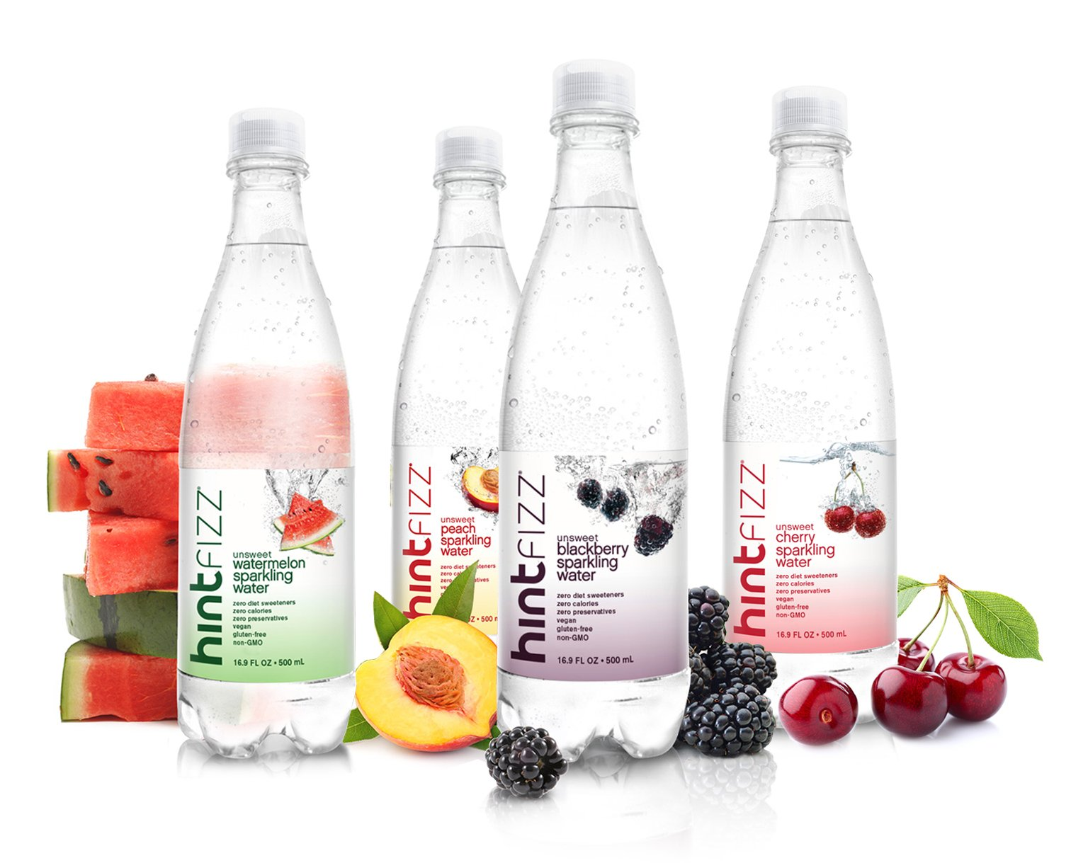 Hint Fizz Sparkling Water 4-Flavor Variety Pack (Pack of 12) 16.9 Ounce Bottles, Unsweetened Sparkling Water, Zero Sugar, Zero Calories, Zero Artificial Sweeteners