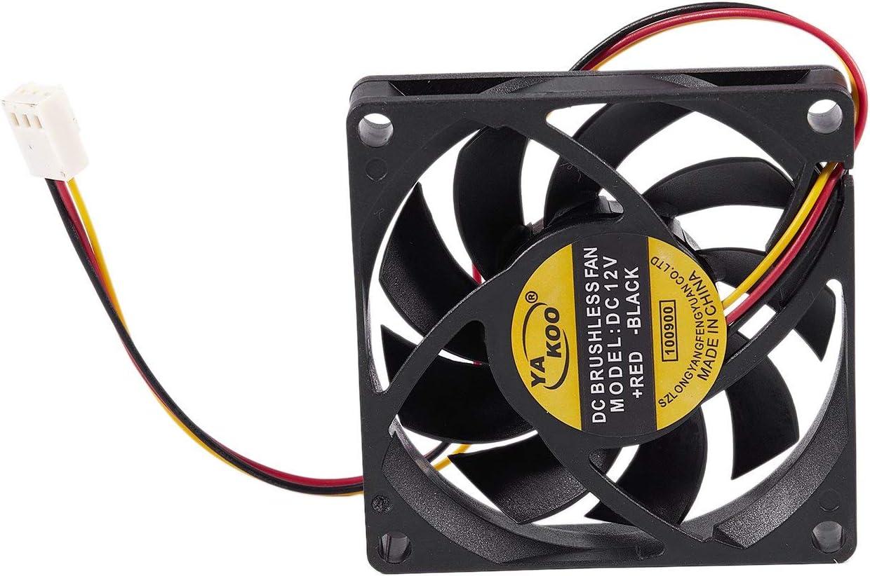 REFURBISHHOUSE 70x70mm 12V 3-Pines Ventilador de enfriamiento Enfriador sin Cepillo DC CPU Caja de computadora PC Negro