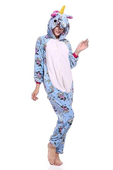 5d0f566306293 DecoBay Pyjamas Femmes Adultes Flanelle Animal Vêtement De Nuit Joli  Costume Requin Panda Licorne (Licorne
