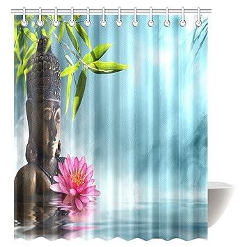 InterestPrint Buddha Shower Curtain Zen Waterlilly Flowers Spa Decor Nature Feng Shui Natural Calm