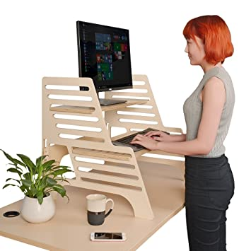 Amazoncom THUNDESK Height Adjustable Standing Desk Converts Any