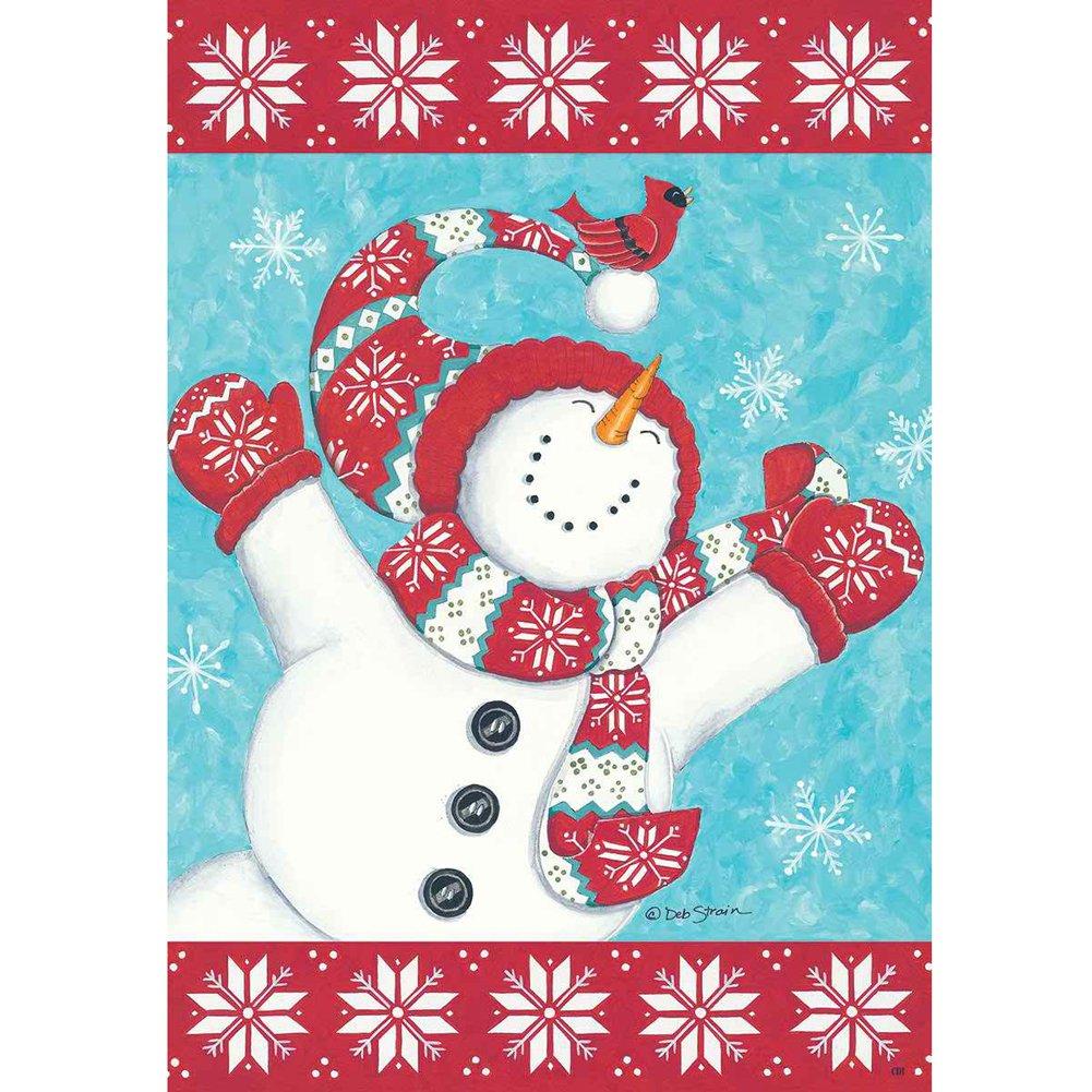 Joyful Snowman - Standard Size House Flag, 28 Inch X 40 Inch