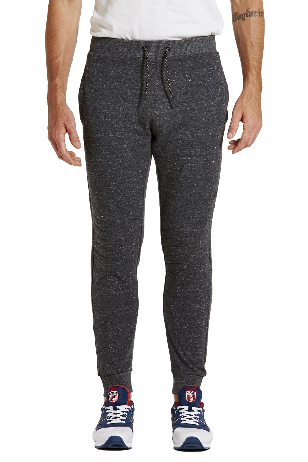 etonic Men's FLX Quilted Knee Zipper Pocket Jogger Sweatpant, Charcoal Heather, Large