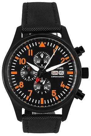 PARNIS 9043 Planeador Reloj cronógrafo Miyota de 42 mm Acero Inoxidable textil de piel pulsera: Amazon.es: Relojes