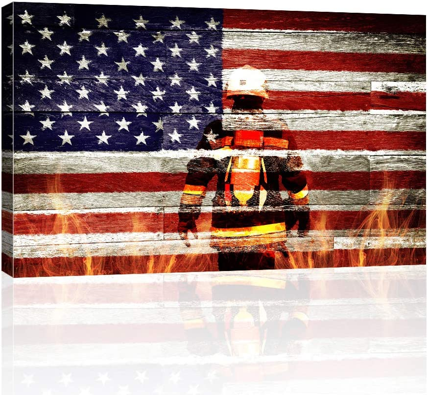 AMEMNY Large Firefighters Fireman in American Flag Canvas Wall Art Prints Home Decor Decals Gifts for Living Room Modern Pictures Artwork Large Posters HD Printed Painting Framed Ready to Hang